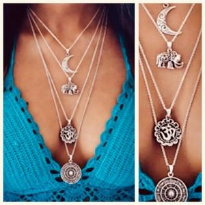 🌟NEW-BOHO Bohemian Moon Elephant Layered Necklace